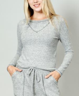 1804 Women's Cozy Contrast Stitch Long-Sleeve T-shirt
