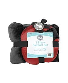 3-PC Travel Pillow, Blanket, Eye Mask Comfort Kit