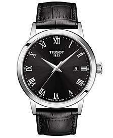 Men's Swiss Classic Dream Black Leather Strap Watch 42mm