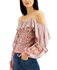 INC Mixed-Print Cold-Shoulder Top, Created for Macy's