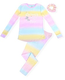 Little Girl's Cosy Tight Fit Pajama Set Ombre Print with Dreams Screen and Scrunchie