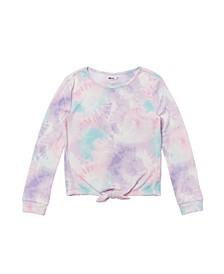 Big Girls Long Sleeve Tie Front Tie Dye Thermal Top