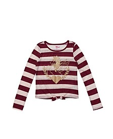 Big Girls Long Sleeve Striped Tie Front Graphic Tee