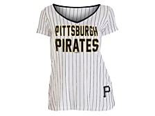Pittsburgh Pirates  Women's Pinstripe V-Neck T-Shirt