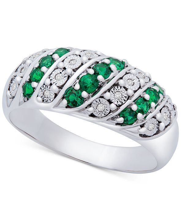 Macy's Emerald (3/8 ct. t.w.) & Diamond (1/20 ct. t.w.) Statement Ring in Sterling Silver (Also in Ruby & Sapphire)