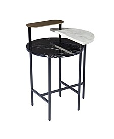 Arcklid Faux Marble End Table with Storage