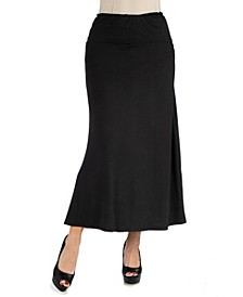 Women's Plus Size Elastic Waist Maxi Skirt