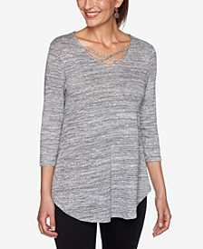 Women's Marled Metallic V-Neck Knit Top