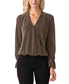 Black Label Metallic Long Sleeve Wrap Front Knit Top