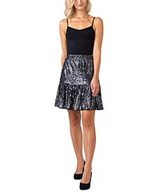 Women's Black Label Sequined Ruffle Hem Skirt