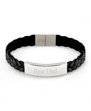 Men's Brai Ded Leather Best Dad Id Bracelet
