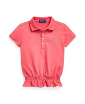 폴로 랄프로렌 여아용 폴로티 Polo Ralph Lauren Little Girls Smocked Stretch Mesh Polo Shirt,Medium Red