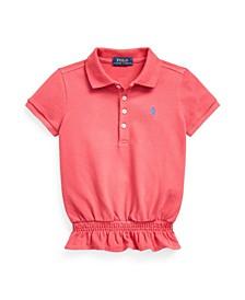 Toddler Girls Smocked Stretch Mesh Polo Shirt
