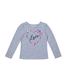 Little Girls Long Sleeve Graphic with Text Tee