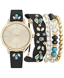 Women's Black Strap Watch 34mm Gift Set