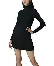 Juniors' Ribbed Mock Neck Dress