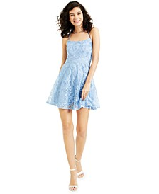 Juniors' Allover Embroidered Fit & Flare Dress