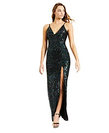 Juniors' High Slit Sequin Gown