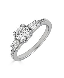 Diamond Engagement Ring (1 ct. t.w.) with Tapered Baguettes in 14K White Gold