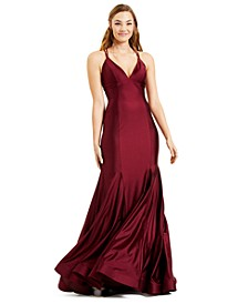 Juniors' Mermaid Strappy-Back Gown