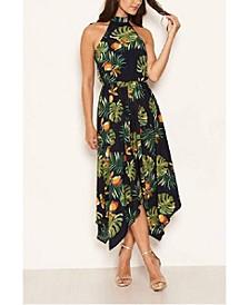 Women's High Neck Elasticated Waist Midi Dress