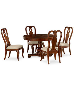 Bordeaux 5 Piece Round Dining Room Furniture Set Pedestal Table 4 Queen Anne Side Chairs