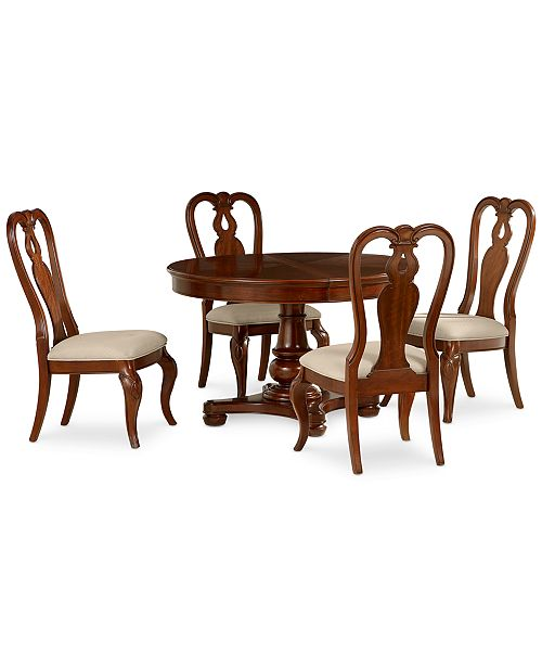 Furniture Bordeaux 5-Piece Round Dining Room Furniture Set (Round Pedestal Dining Table & 4 Queen Anne Side Chairs)