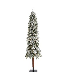 Flocked Grand Alpine Artificial Christmas Tree with 500 Clear Lights and 1051 Bendable Branches on Natural Trunk