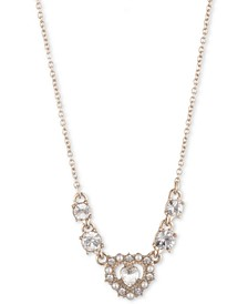"""Gold-Tone Crystal Heart Frontal Necklace, 16"""" + 3"""" extender"""