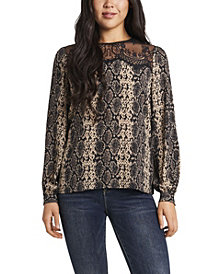 Women's Snake Printed Lace Yoke Pleated Front Blouse