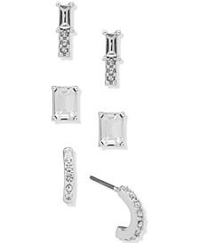 Silver-Tone 3-Pc. Set Pavé & Baguette-Crystal Stud Earrings