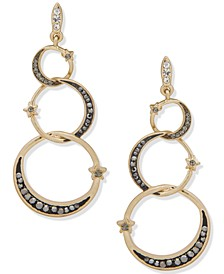 Gold-Tone Pavé Star & Crescent Moon Statement Earrings