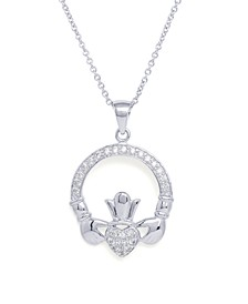 Cubic Zirconia Claddagh Pendant Necklace in Fine Silver Plated