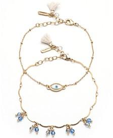 Gold-Tone 2-Pc. Set Evil Eye & Shaky Bead Ankle Bracelets