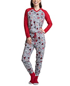 3-Pc. Gift Printed Fleece Top, Pants & Socks Pajama Set