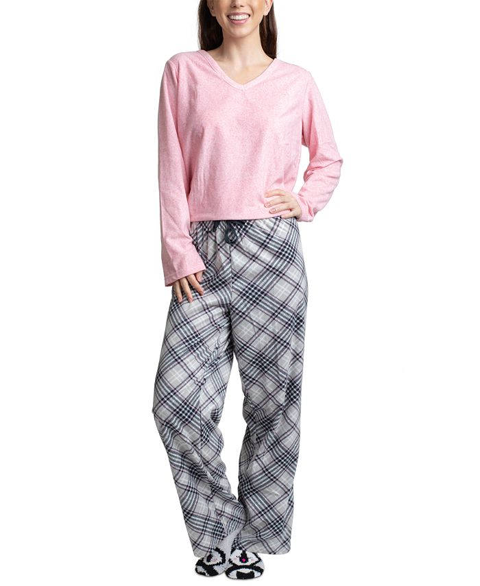 Muk Luks - 3-Pc. Gift Fleece Top, Pants & Socks Pajamas Set
