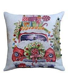 """20"""" L x 20"""" W Christmas Embroidered Throw Pillow"""