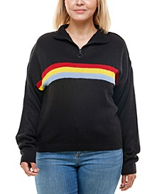 Trendy Plus Size Mock-Neck Rainbow-Stripe Sweater