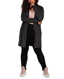 Plus Size Long-Sleeve Cardigan Sweater