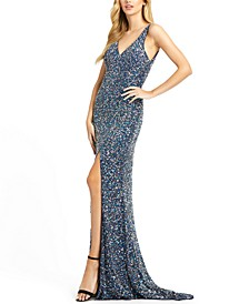 Sequined V-Neck Gown