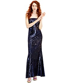 Juniors' Sequined Strapless Gown