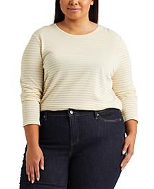 Plus-Size Metallic-Stripe Jersey Top