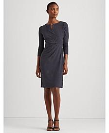 Polka-Dot Wrap-Style Jersey Dress