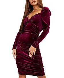 Ruched Velvet Bodycon Dress