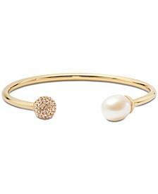 Gold-Tone Pavé Fireball & Freshwater Pearl (12x10mm) Flex Cuff Bracelet