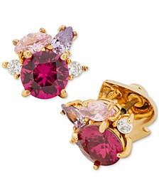 Gold-Tone Multi-Crystal Cluster Stud Earrings