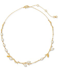 "Gold-Tone Pavé & Freshwater Pearl (5x7mm-6x8mm) Collar Necklace, 17"" + 3"" extender"