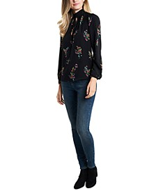 Keyhole Woven Floral-Print Top