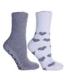 Women's Heart Print Non-Skid Warm Soft and Fuzzy Slipper Socks, 5 Piece