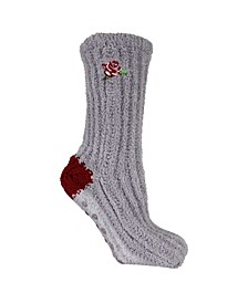 Women's Non-Skid Warm Soft and Fuzzy Slouch Aroma Sole Slipper Socks, 2 Piece